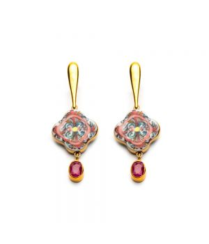 Cross Earrings with Ruby, fig. 1