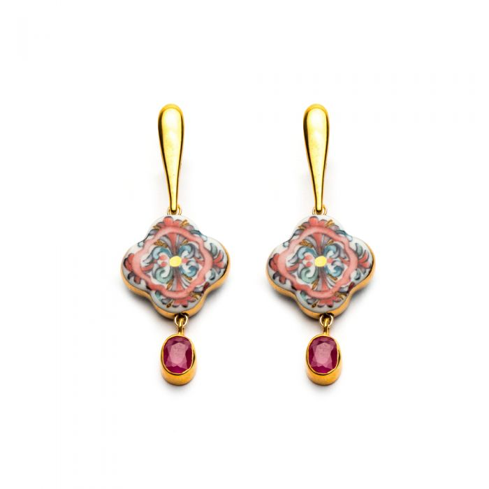 Cross Earrings with Ruby, fig. 1